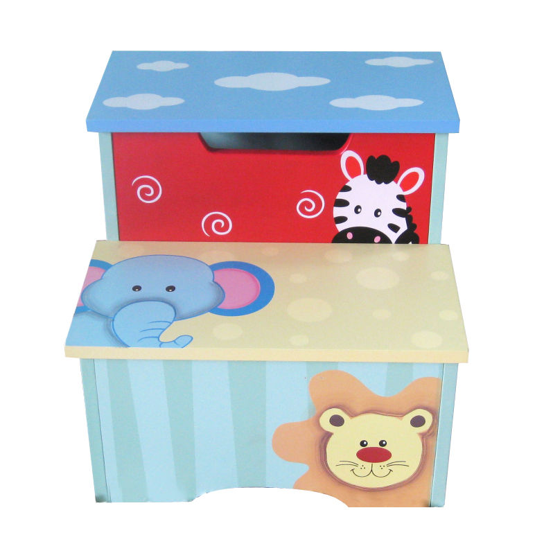Jungle Safari Wooden Storage Step Stool