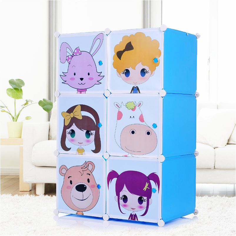 Blue Plastic Do-It-Yourself (DIY) Cartoon Closet Storage Unit 6 Doors