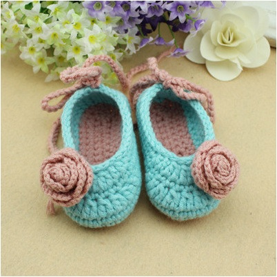 9f13a92989aa7 Handmade Baby Shoes Booties Blue 3-6 Months