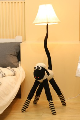 Black White Plush Sheep Fabric Floor Lamp