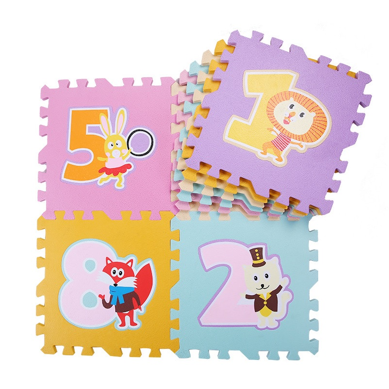 Numbers Animals EVA Floor Play Mats 9 Pieces + 12 Pieces Border X 2