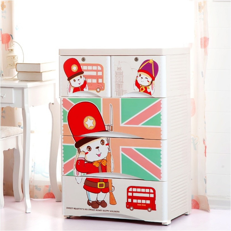 London Soldier 4 Layer Chest of Drawers White