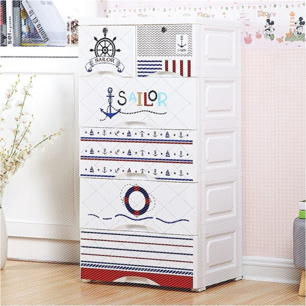 Sailor 5 Layer Storage Drawer Cabinet White The Tickle Toe