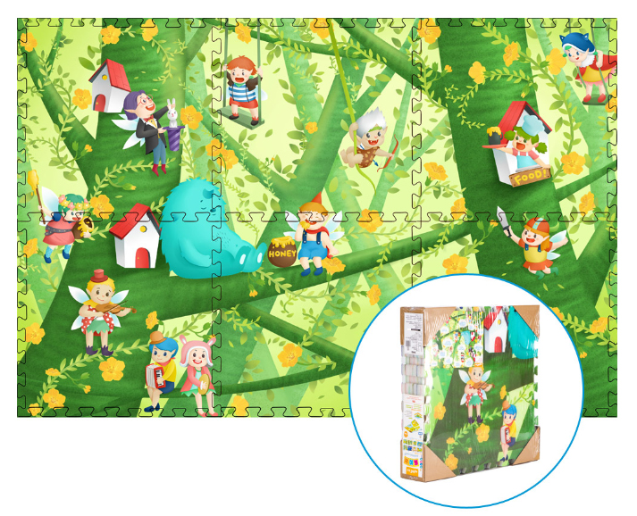 Forest Fairy Epe Foam Play Puzzle Mat Rug Double Sided 6