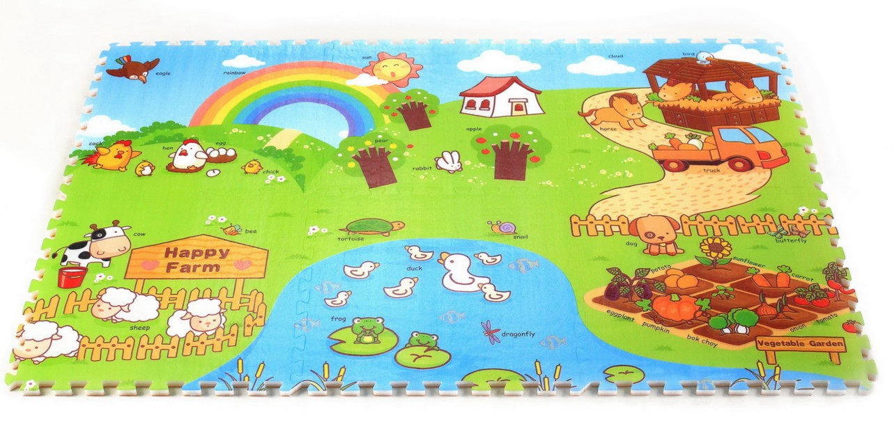 Happy Farm EPE Foam Play Puzzle Mat Rug Double Sided  6 Pcs