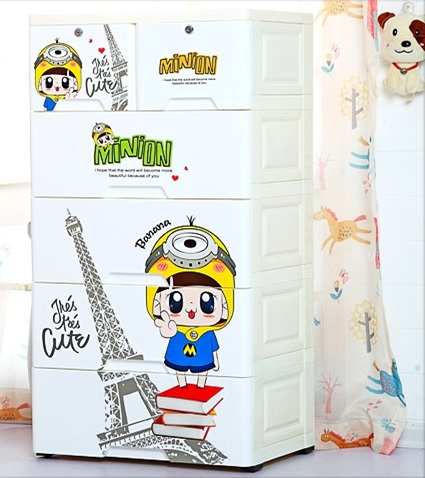 Minion 4 Layer Storage Drawer Cabinet White The Tickle Toe