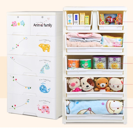 Animal Family 5 Layer Storage Chest Of Drawer Cabinet Dimensions 58l 40w 114h Cms