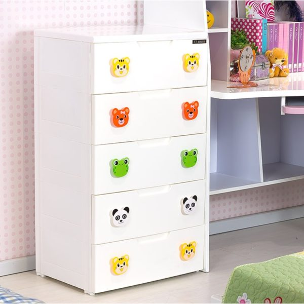 Knobbed 5 Layer Storage Chest Of Drawer Cabinet The