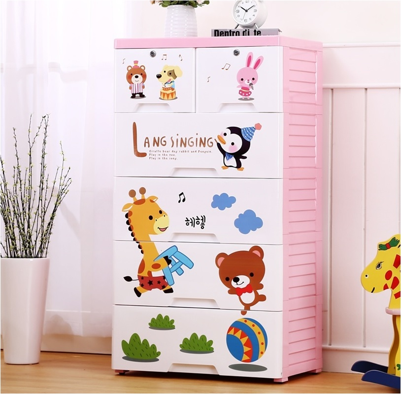 Sing Along 5 Layer Storage Chest of Drawer Cabinet Pink
