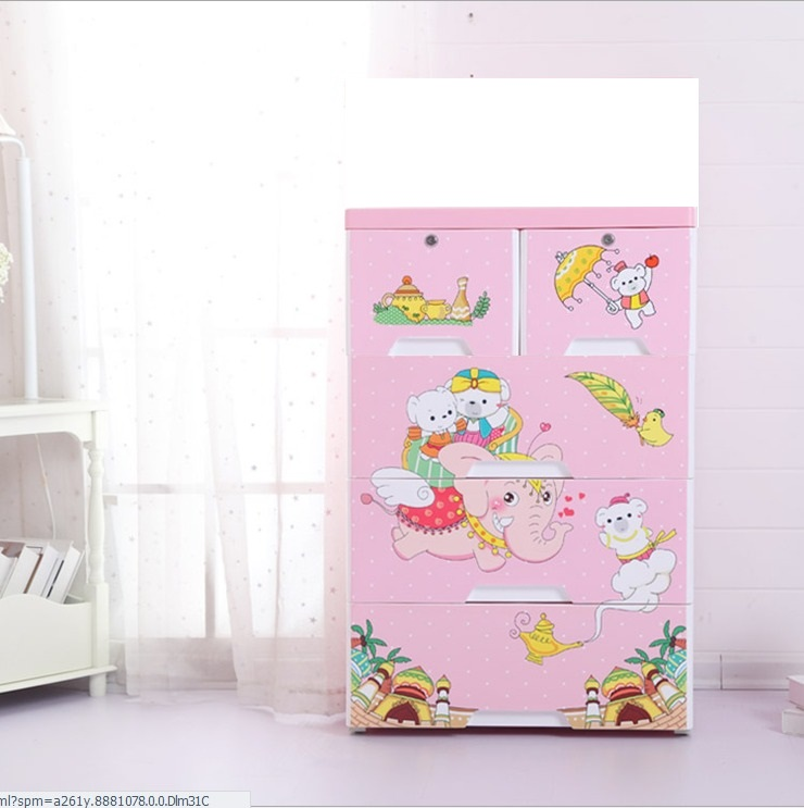 Magic Land 4 Layer Storage Chest of Drawer Cabinet Pink