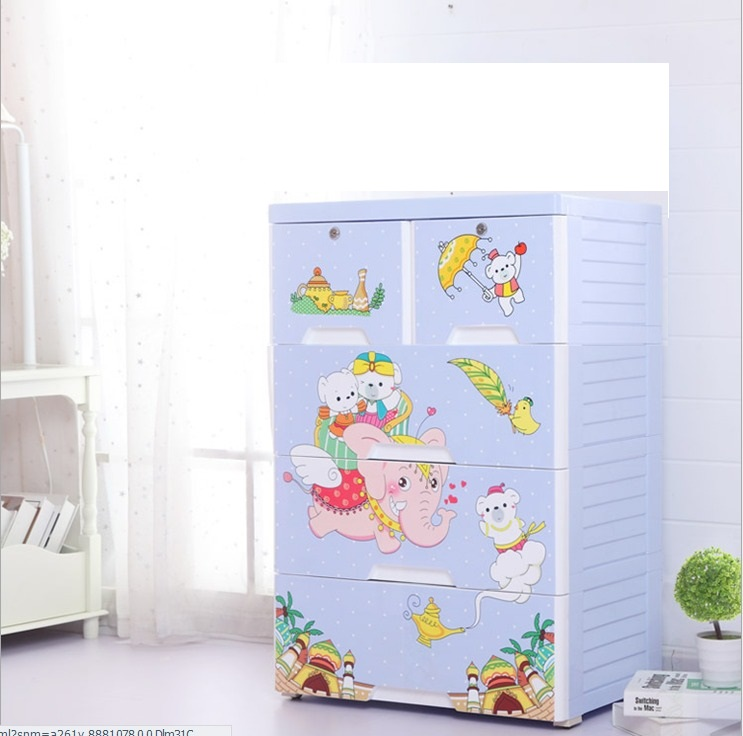 Magic Land 4 Layer Storage Chest of Drawer Cabinet Blue