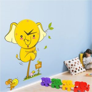 wall clock , cartoon design wall clock , kids room decor , home decor , room decorating ideas , colorful wall clock