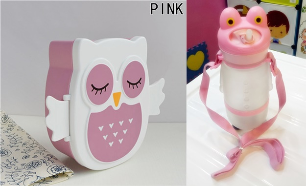 Owl Lunch Box+ Sipper Bottle Combo Pink