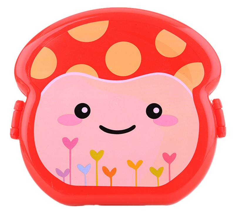 Mushroom Lunch Box Sipper Bottle Combo Red Dark Pink