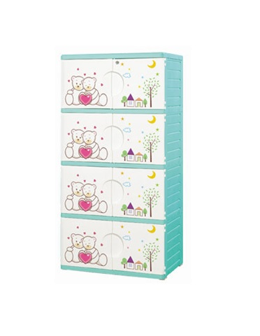 Double Door 4 Layer Storage Drawer Cabinet Kids Furniture One Lock Green