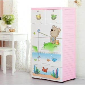 Fishing Bear 5 Layer Storage Drawer Cabinet Kids Furniture Pink