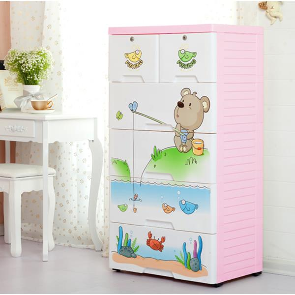 Fishing Bear 5 Layer Storage Drawer Cabinet Kids Furniture