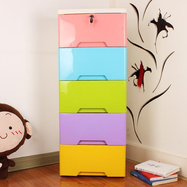 Multi Colored 5 Layer Storage Drawer Cabinet Kids Furniture One Lock