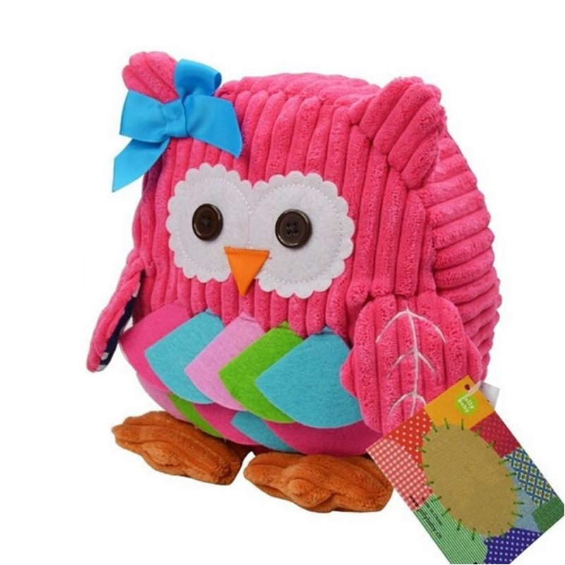 Cute Kids 3D Animal Cartoon Small Plush Backpack Pink Owl