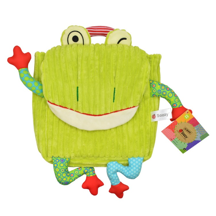 Cute Kids 3D Animal Cartoon Small Plush Backpack Green Frog