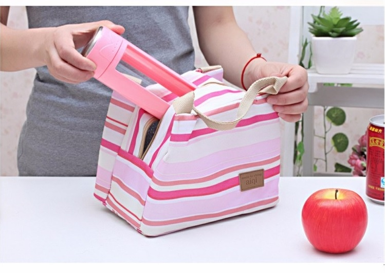 Kids Women Insulated Lunch Travel Bag Tote Multi Pink Stripes
