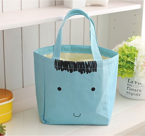 Kids School Insulated Lunch Bag Tote Light Blue