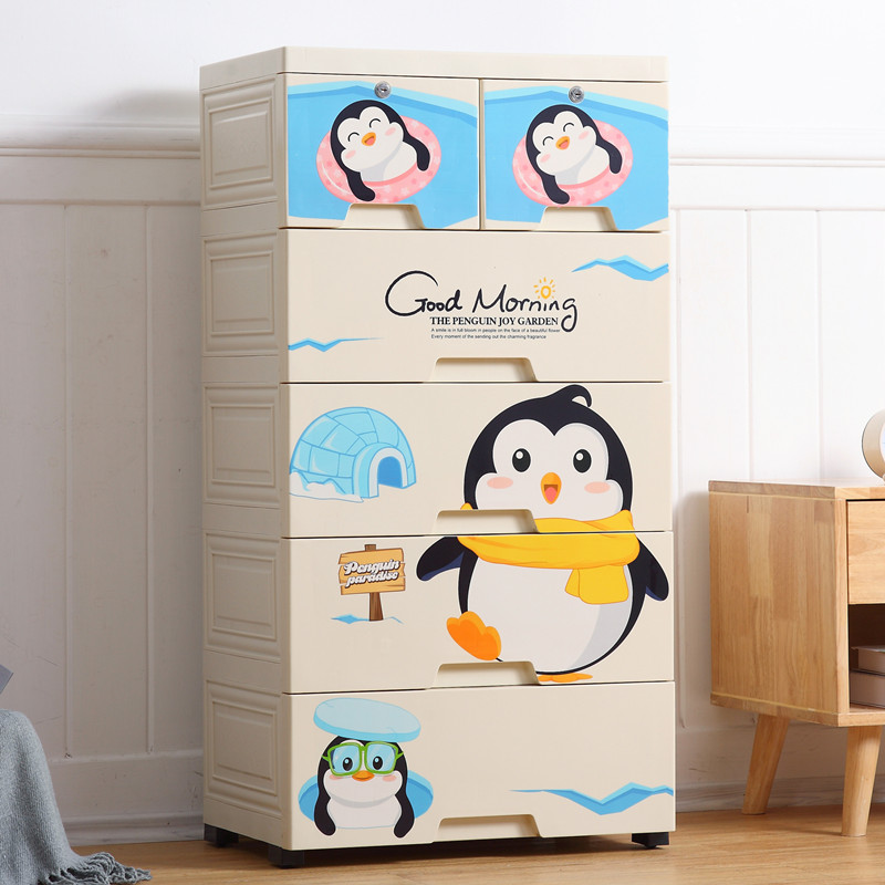 Penguin 5 Layer Storage Chest of Drawer Cabinet kids storage box