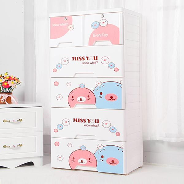 Cute Faces 5 Layer Kids Room Storage Drawer Cabinet