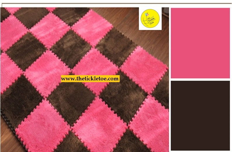 Soft Fur EVA Interlocking Mats 10 pcs Rose & Coffee