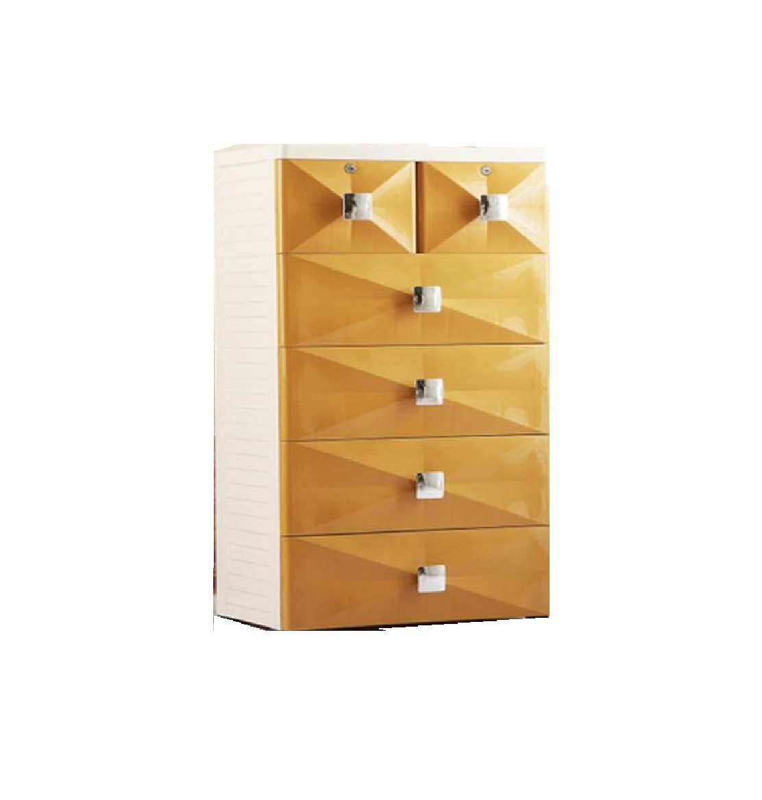 Fiber Plastic Chest of Drawers/Organizer/Storage Box DIY 6 Drawers Gold 60 L 40 D 113 H CMS