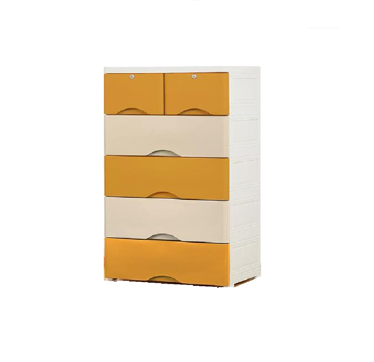 Plain Kids Cabinet Chest of Drawers/Organizer/Storage  DIY 6 Drawers Mustard Beige 58 L 40 D 113 H CMS