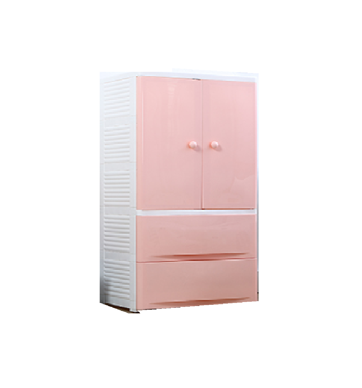 Fiber Plastic Wardrobe with Drawers/Hanging Storage Box DIY 2 Drawers +1 Clothes Hanging Space Pink 58 L 40 D 114 H CMS